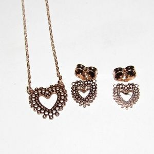 Unbranded Jewelry - Dainty Cut Out Heart Station Necklace Earring Sets